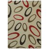 Rugnur Bella Maxy Home Geometric Almonds Oval Contemporary Ivory/Red Shag Area Rug