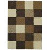Rugnur Bella Maxy Home Checkerboard Squares Contemporary Ivory/Brown Shag Area Rug