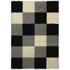Rugnur Bella Maxy Home Checkerboard Squares Contemporary Black/Grey Shag Area Rug