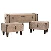 Darby Home Co Aleshire 3 Piece Linen Covered Trunk Set