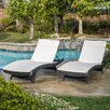 Darby Home Co Peyton Adjustable Wicker Chaise Lounge with Cushion (Set of 2)