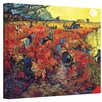 Alcott Hill Red Vineyard at Arles by Vincent Van Gogh Painting Print on Canvas