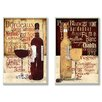 Alcott Hill Red and White Wine Typography 2 Piece Graphic Art Plaque Set