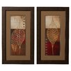 Charlton Home Baynton 2 Piece Fossil Leaves Framed Graphic Art (Set of 2)