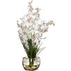 Charlton Home Silk White Orchids in Short Oval Vase