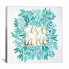 Brayden Studio 'C'est La Vie' by Cat Coquillette Graphic Art on Wrapped Canvas in Turquoise