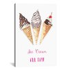 Brayden Studio Ice Cream All Day by Rongrong DeVoe Painting Print on Wrapped Canvas
