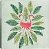 Brayden Studio Flamingos Artprint by Cat Coquillette Graphic Art on Wrapped Canvas in Green