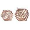 Brayden Studio Adhafera 2 Piece Metallic Wire Dodecahedron Sculpture Set