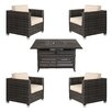 Brayden Studio Lara 5 Piece Deep Seating Group Set with fire pit