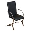 Wade Logan Barrera Leather and Chrome Arm Chair (Set of 2)