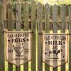 Handcrafted Cow/Hen Burlap Farm Fresh 2 Piece Garden Sign Set - Glitzhome Garden Statues and Outdoor Accents