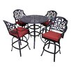 California Outdoor Designs Roma 5 Piece Bar Set with Cushion