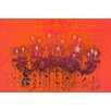 Fluorescent Palace Liquid Chandelier Graphic Art on Canvas in Orange