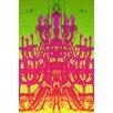 Fluorescent Palace Tower of Light Neon Rainbow Graphic Art on Canvas