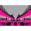 Fluorescent Palace Night Vision Graphic Art on Canvas in Pink