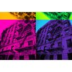 Fluorescent Palace Pop Cityscape Graphic Art on Canvas