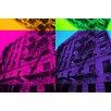 Fluorescent Palace Leinwandbild Pop Cityscape Grafikdruck