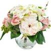 Lark Manor Myrte Faux Mixed Rose & Hydrangea in Glass Vase