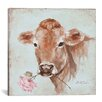 Lark Manor Cow with Rose Painting Print on Wrapped Canvas