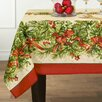 Elrene Home Fashions Holly Traditions Double Border Oblong Tablecloth