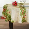Elrene Home Fashions Holly Traditions Double Border 70 inch Round Tablecloth