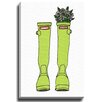 Bashian Home Green Rain Boots by Coco Draws Graphic Art on Wrapped Canvas