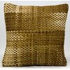 Nourison Natural Leather and Hide Basket Weave Natural hair on Hide Throw Pillow