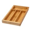 YBM Home Bamboo 4 Compartment Flatware Organizer