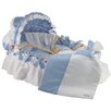 Wendy Anne Moses Basket With Pique Gingham Bedding And Canopy
