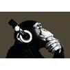 NEXT! BY REINDERS Leinwandbild Schimpanse mit Kopfhörer Kunstdruck