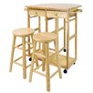 August Grove Charity 3 Piece Kitchen Island Set with Wood Top