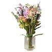 August Grove Rosemary Lavender and Hydrangea in Glass Vase