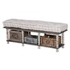 August Grove Bella Farmhouse Wood Storage Bedroom Bench