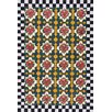 August Grove Parker Floral Checkered Black Area Rug