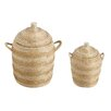 Beachcrest Home 2 Piece Grass and Recycled Plastic Wrapped Basket Set