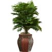 Beachcrest Home Brookings Areca Palm Floor Plant with Decorative Vase
