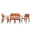 Beachcrest Home Elsmere 5 Piece Bench Seating Group with Cushion