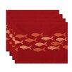 Beachcrest Home Golden Lakes Fish Line Coastal Placemat (Set of 4)