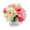House of Hampton Mixed Peonies in Diamond Cut Glass Vase