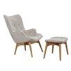Ceets Huggy Mid Century Arm Chair & Ottoman Set