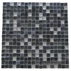 "Abolos Quartz 0.63"" x 0.63"" Glass and Stone Mosaic Tile in Dark Gray"