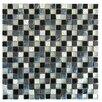"Abolos 0.63"" x 0.63"" Glass and Quartz Mosaic Tile in Multi Gray/White"