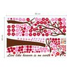 Walplus Pink Tree and Alphabets Wall Sticker