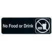 Update International Self Adhesive Backing No Food or Drink Sign