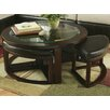 Roundhill Furniture Cylina Coffee Table with Nested Stools