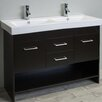 "Eviva Gloria 48"" Espresso Double Bathroom Vanity Set with White Integrated Double Porcelain Sink"