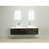 "Eviva Totti Wave 60"" Double Sink Espresso Modern Bathroom Vanity Set"