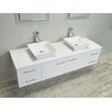 Eviva Totti Wave 60-Inch White Modern Double Sink Bathroom Vanity with Counter-Top and Double Sinks