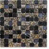 """Intrend Tile Crescent 1"""" x 1"""" Stone / Glass Mosaic Tile in 3 Color Blend"""